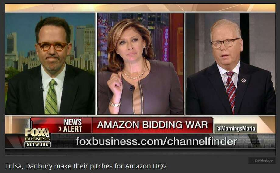 Danbury Mayor Mark Boughton, far right, with Fox business show host Maria Bartiromo (center), on Thursday morning, discussing the city's bid for Amazon''s second world headquarters, and his run for governor in 2018. Photo: Fox Business Network / The News-Times Contributed