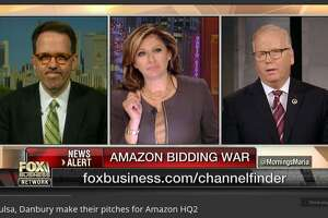 Danbury Mayor Mark Boughton, far right, with Fox business show host Maria Bartiromo (center), on Thursday morning, discussing the city's bid for Amazon's second world headquarters, and his run for governor in 2018.