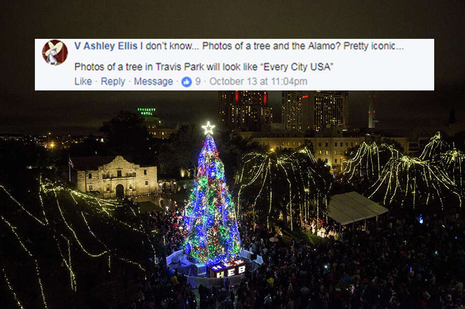 """I don't know...Photos of a tree and the Alamo? Pretty iconic...Photos of a tree in Travis Park will look like 'Every City USA,'"" V Ashley Ellis. Photo: Facebook.com"