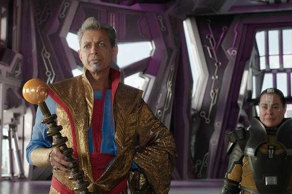 "Jeff Goldblum and Rachel House in ""Thor: Ragnarok"""