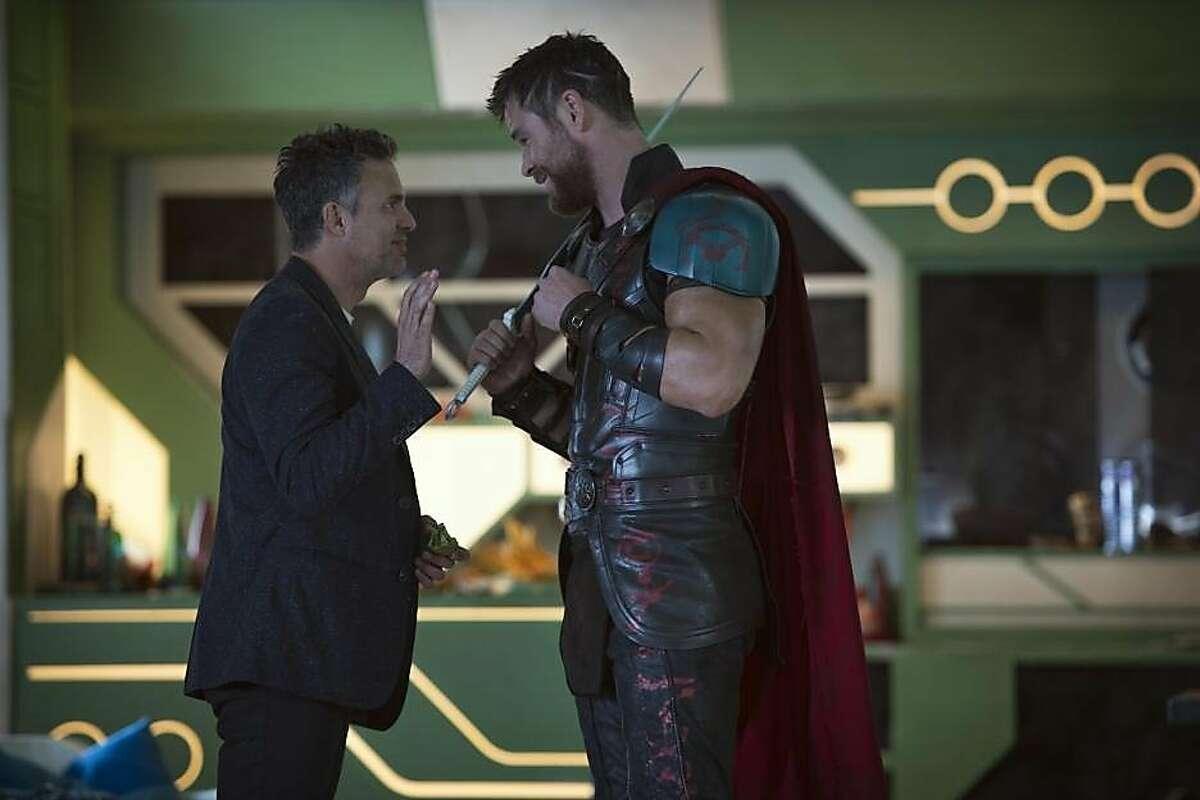 "Mark Ruffalo, left, and Chris Hemsworth in ""Thor: Ragnarok"""