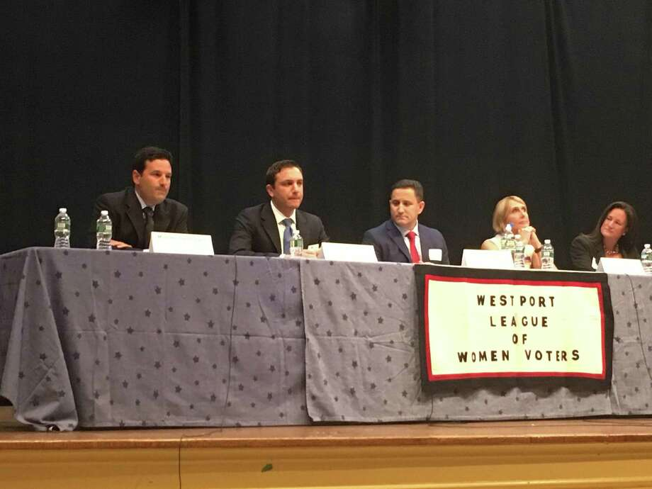 Planning and Zoning Commission candidates Michael Cammeyer, Save Westport Now/Democrat, Greg Rutstein, of Save Westport Now/Democrat, Jon Olefson, Republican, Jennifer Johnson, of the Coalition for Westport, and Danielle Dobin, of Save Westport Now/Democrat, on Oct. 16, 2017 in Westport, Conn. Photo: Sophie Vaughan / Hearst Connecticut Media / Westport News