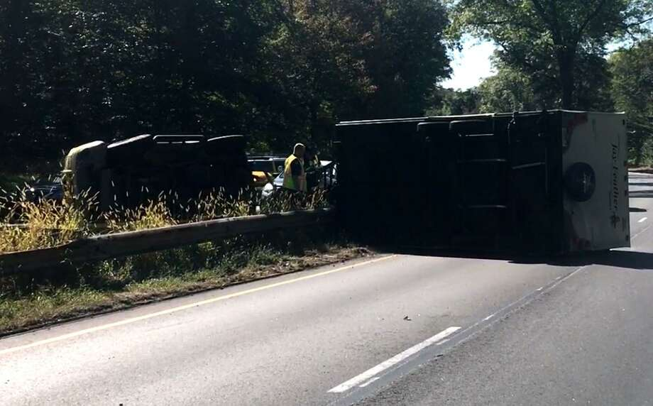 A camper towed by another vehicle overturned on Route 15 around 1:30 p.m. Thursday near Fairfield Photo: Contributed Photo / Contributed Photo / Connecticut Post Contributed