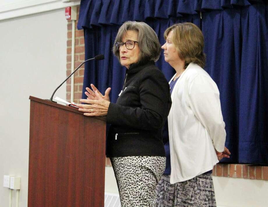 Darien High School teacher Lynda Sorensen, left, and school psychologist Eileen Whaleen. Photo: Erin Kayata / Hearst Connecticut Media / Darien News
