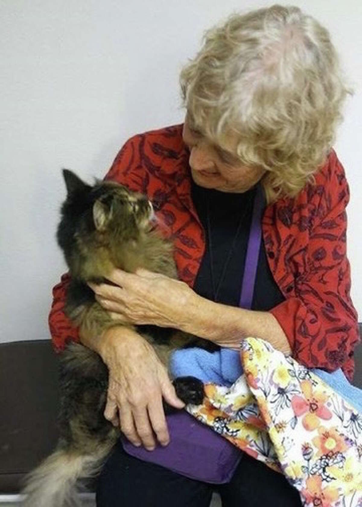 Sara Spaulding-Phillips with the couple's cat, Mele.
