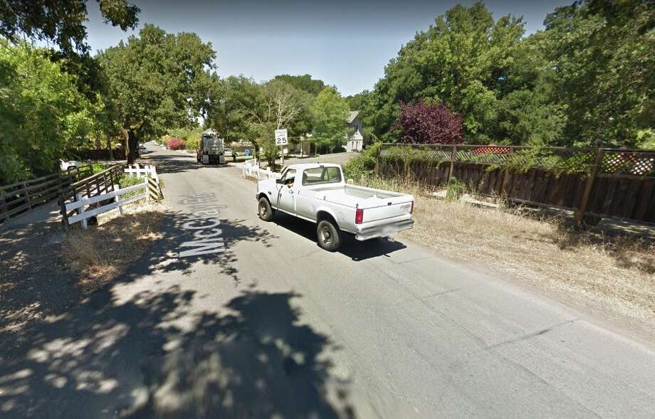 An 80-year-old woman who lives on McClay Road (shown) in Novato escaped a house fire early Thursday by climbing down a two-story trellis. Photo: Google Street View