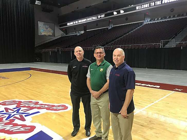 From left, Santa Clara's Herb Sendek, USF's Kyle Smith and St.� Mary's Randy Bennett at the Orleans Arena in Las Vegas for WCC Media Day