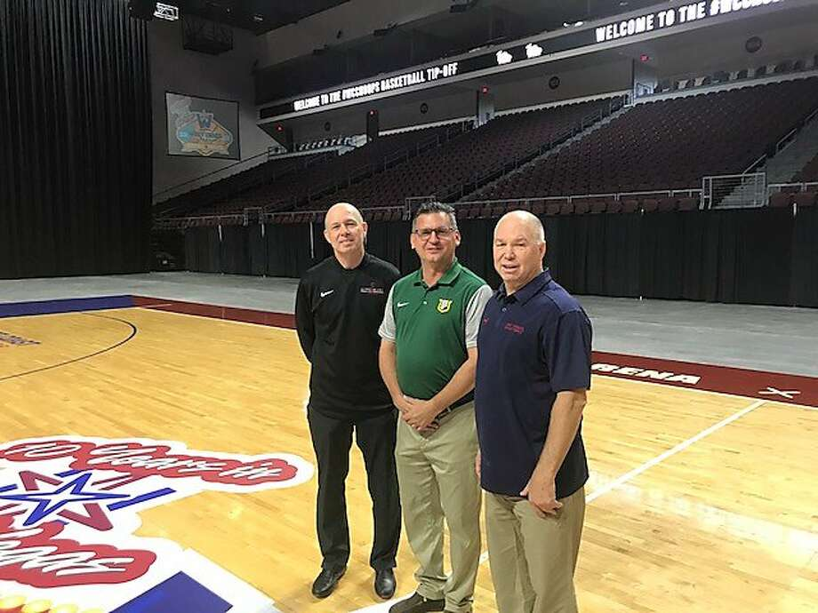From left, Santa Clara's Herb Sendek, USF's Kyle Smith and St.  Mary's Randy Bennett at the Orleans Arena in Las Vegas for WCC Media Day Photo: Steve Kroner, The Chronicle