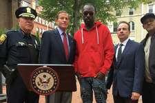 Joe Grit$ (middle) at an October 2017 press conference with Sen. Richard Blumenthal and Bridgeport Mayor Joe Ganim.