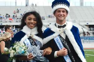 Madison Guillory and Kyle Benacquisto are crowned Clear Springs High School queen and king before the homecoming game against Dickinson Saturday, Oct. 14 at CCISD Challenger Columbia Stadium.