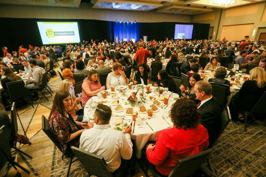 People are seated before the start of the Express-News' Top Workplace luncheon at the Grand Hyatt on Thursday, Oct. 19, 2017. Photo: Marvin Pfeiffer /San Antonio Express-News / Express-News 2017
