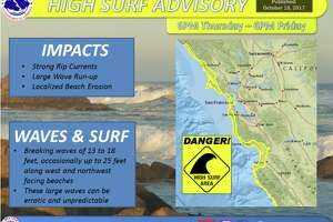 The Bay Area National Weather Service issued a high surf advisory for Thursday night and Friday morning.