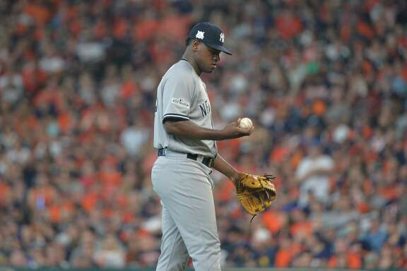 New York Yankees starting pitcher Luis Severino on the mound against the Houston Astros in Game 2 of the American League Championship Series at Minute Maid Park in Houston on Saturday, Oct. 14, 2017. The Astros won, 2-1, for a 2-0 series lead. (Howard Simmons/New York Daily News/TNS)