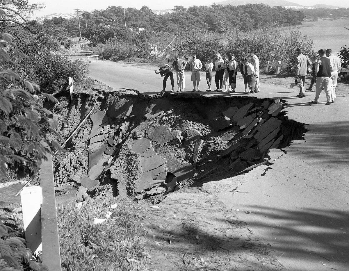 Earthquake hits San Francisco March 22, 1957 Part of Lake Merced Blvd collapses