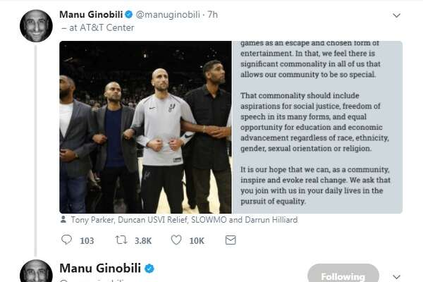"""Just to clarify. That was a statement made by the PLAYERS & COACHING STAFF of the team shown on the big screen before the game,"" Manu Ginobili tweeted."
