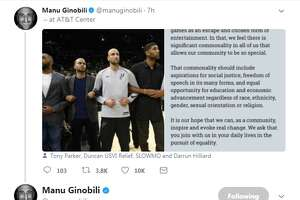"""""""Just to clarify. That was a statement made by the PLAYERS & COACHING STAFF of the team shown on the big screen before the game,"""" Manu Ginobili tweeted."""