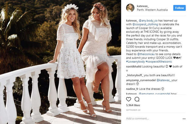 Best friends and Sports Illustrated rookies for 2018 Kate Wasley and Georgia Gibbs are setting the modeling world on fire with their message on body positivity.  Photo:  Kate Wasley Instagram