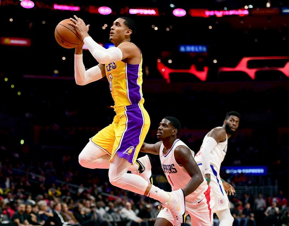 LOS ANGELES, CA - OCTOBER 13:  Jordan Clarkson #6 of the Los Angeles Lakers scores on a layup past Jawun Evans #1 of the LA Clippers during the first half at Staples Center on October 10, 2017 in Los Angeles, California.  (Photo by Harry How/Getty Images) Photo: Harry How/Getty Images