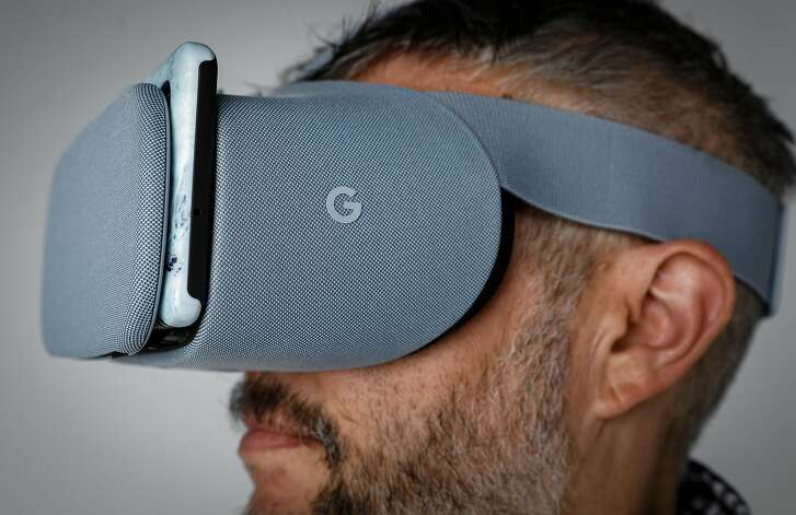 The Daydream View VR viewer from Google is seen on Thursday, Oct. 19, 2017 in San Francisco, Calif.