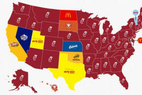 Business Insider tweeted a photo of the most popular fast food chains by state. Texans were not fooled when they tried to say In N Out is more popular than Whataburger.  Image source:  Twitter