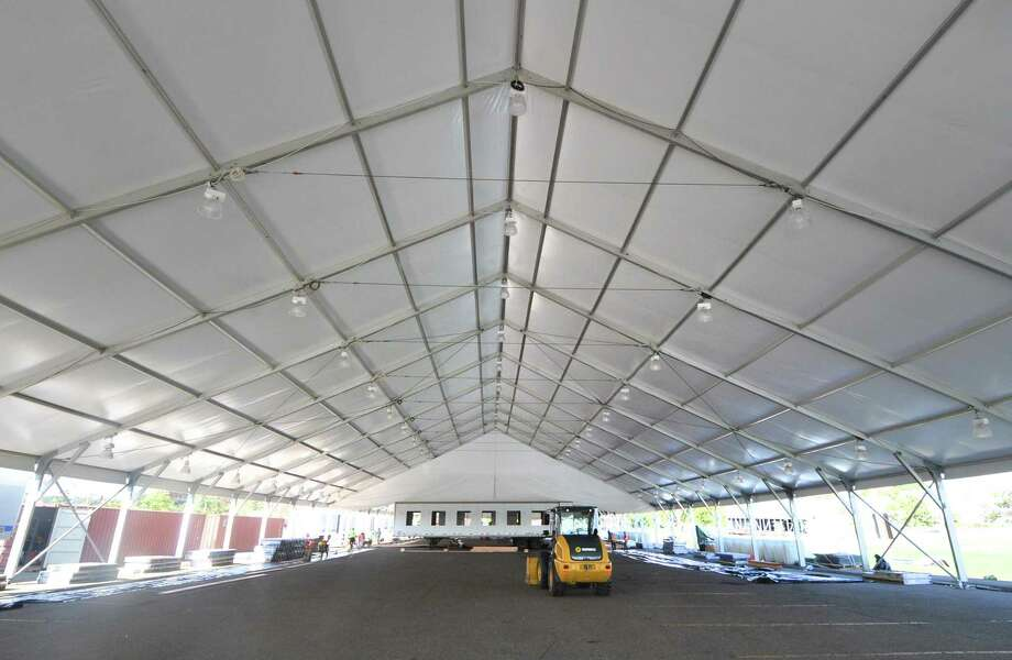 Interior of one of the sections of the installation of two regulation size ice rinks under the tent at Veterans Park in October 2016. Photo: Alex Von Kleydorff / Hearst Connecticut Media / Connecticut Post