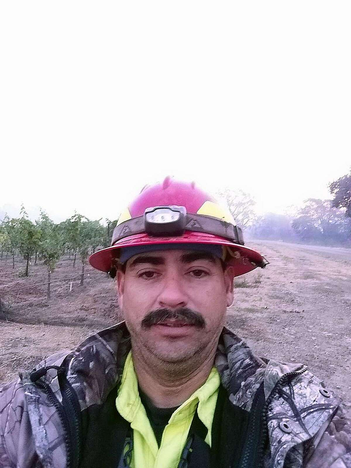 Garrett Paiz, 38, died when the private firefighting water truck he was driving careened off the steep Oakville Grade road in Napa County near Highway 29 around 7 a.m. on Monday October 16, 2017. Officials said it wasn�t clear what caused the accident, but fatigue from long hours of working the fire may have been a factor. A selfie taken on Sunday, October 15, 2017.