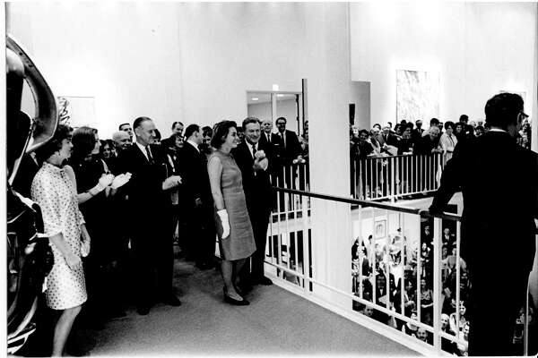 Nelson Rockefeller at the opening of UAM in 1967 (image courtesy University at Albany / University Art Museum)