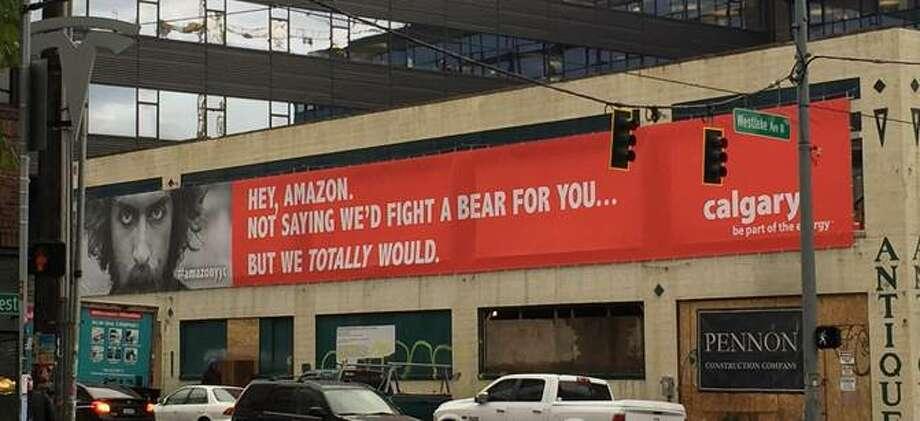 The city of Calgary, Alberta, unveiled this billboard near Amazon headquarters in Seattle on Thursday, Oct. 19, 2017. Photo: Calgary Economic Development