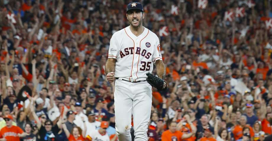 Houston Astros starting pitcher Justin Verlander (35) after ending the top of the eighth inning with three straight stikeouts during Game 2 of the ALCS at Minute Maid Park on Saturday, Oct. 14, 2017, in Houston. ( Karen Warren / Houston Chronicle ) Photo: Karen Warren/Houston Chronicle