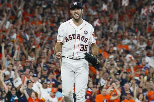 Houston Astros starting pitcher Justin Verlander (35) after ending the top of the eighth inning with three straight stikeouts during Game 2 of the ALCS at Minute Maid Park on Saturday, Oct. 14, 2017, in Houston. ( Karen Warren / Houston Chronicle )