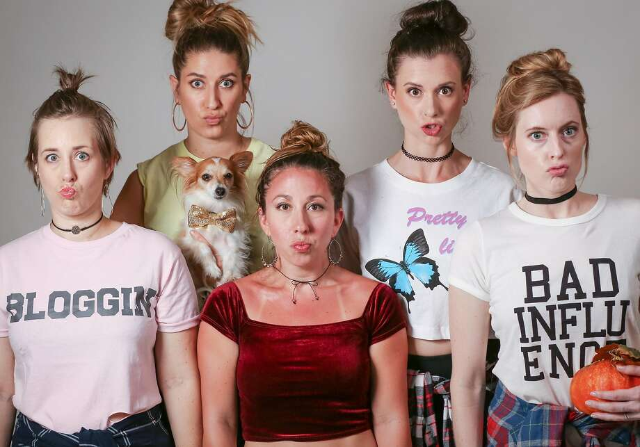 """Jessica Mele (left), Rachel Rockwood, Kate Jones, Meredith Terry and Leah Shesky in Chardonnay Comedy's """"Totes Blessed!"""" Photo: Andy Strong, Chardonnay Comedy"""
