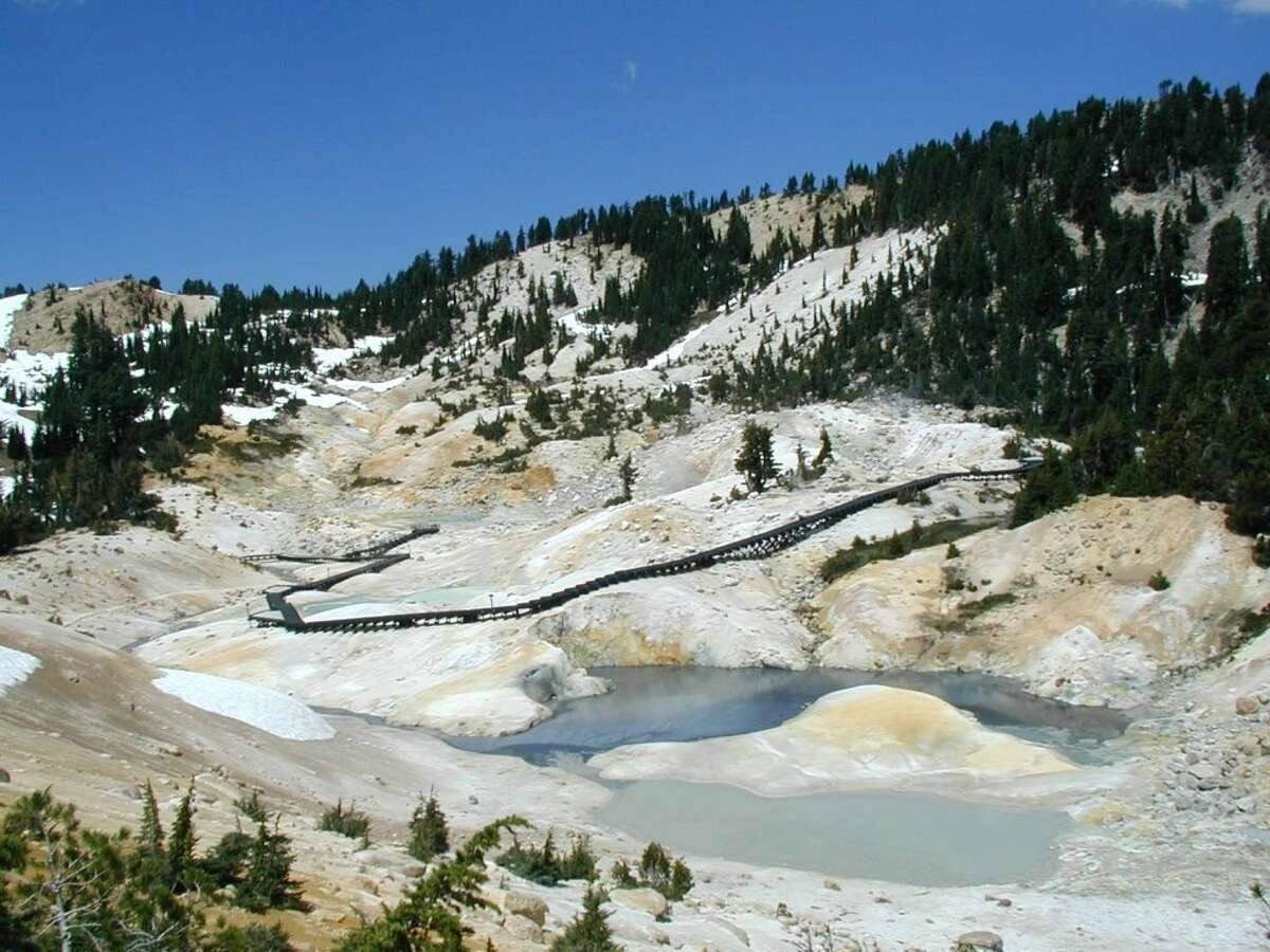 The Bumpass Hell trail in Lassen National Park is a great place to see spitting mud pits and boiling wells of water. It feels like you're on another planet, close to the raw side of California. Not far off you can explore the Subway cave in Lassen National Forest.