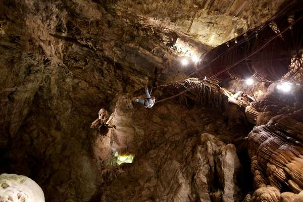 The Moaning Cavern near Sonora has the deepest cave chamber in California. You can rappel down the walls into the chamber.