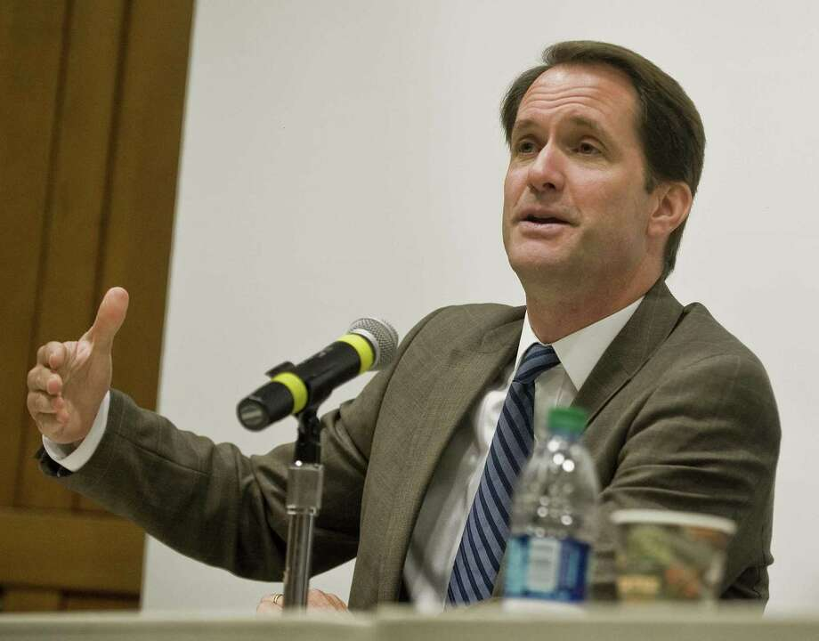 U.S. Rep. Jim Himes gives his remarks on the threatened relationship and potential crisis between North Korea, during the UN Day program at Norwalk Community College.Thursday, Oct. 19, 2017 Photo: Scott Mullin / For Hearst Connecticut Media / The News-Times Freelance