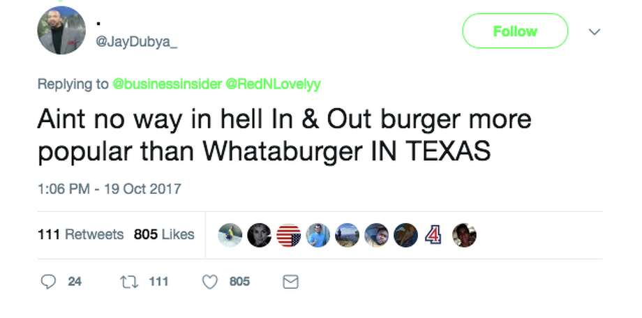 Business Insider posted a map showing each state's favorite fast food - and just about everyone disagreed. Photo: Screenshot Via Twitter