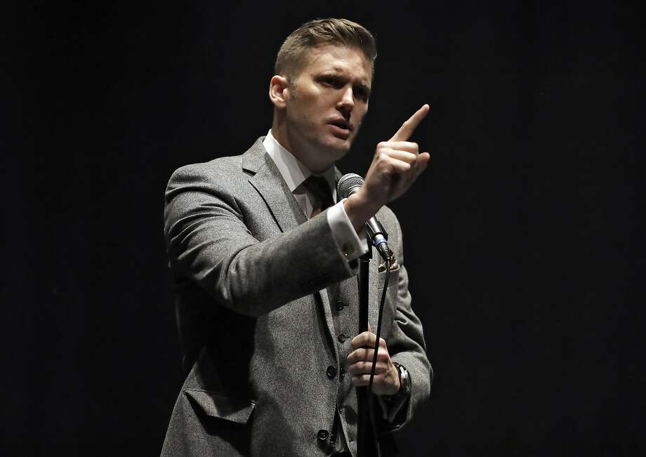 White Nationalist Richard Spencer Thursday, Oct. 19, 2017, at the University of Florida in Gainesville, Fla. (AP Photo/Chris O'Meara) Photo: Chris O'Meara, Associated Press