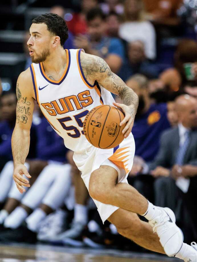Phoenix Suns guard Mike James (55) drives to the basket against the Portland Trail Blazers during the second half of an NBA preseason game Wednesday, Oct. 11, 2017, in Phoenix. Portland won the game ?113-104. (AP Photo/Darryl Webb) Photo: Darryl Webb, Associated Press / FR170361 AP