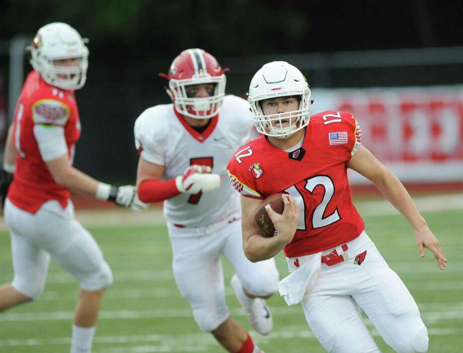 High school football game between Greenwich High School and New Canaan High School at Greenwich, Conn., Saturday, Oct. 14, 2017. Greenwich defeated New Canaan 36-21. Photo: Bob Luckey Jr. / Hearst Connecticut Media / Greenwich Time