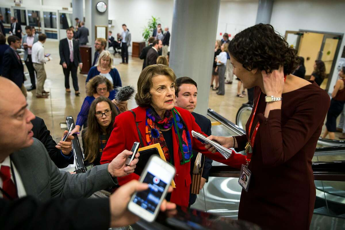 Sen. Dianne Feinstein (D-Calif.) arrives for a vote on budget resolutions on Capitol Hill in Washington, Oct. 19, 2017. (Al Drago/The New York Times)