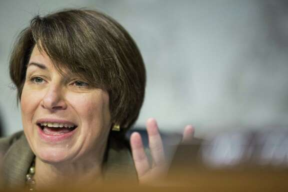 Senator Amy Klobuchar, a Democrat from Minnesota, speaks during a Senate Judiciary Committee hearing with Jeff Sessions, U.S. attorney general, not pictured, in Washington, D.C., U.S., on Wednesday, Oct. 18, 2017. Sessionstold senators he won't answer questions about his conversations with PresidentDonald Trumpover the firing of FBI DirectorJames Comey. Photographer: Zach Gibson/Bloomberg