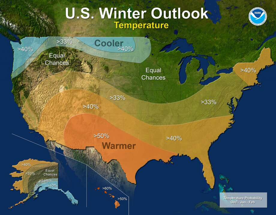 The NOAA winter outlook for 2017-2018 (December through February) is calling for colder conditions in the Northwest and across a narrow band stretching to Minnesota, while much of the U.S. will see warmer conditions, including all the way up the Eastern Seaboard. Photo: NOAA