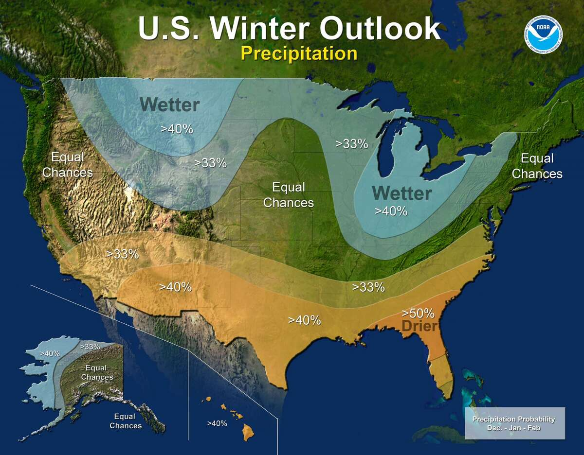 The NOAA winter outlook for 2017-2018 (December through February) is calling for wetter conditions across much of the northern U.S. and drier conditions in the southern portions. A mild La Nina is expected to have an impact again this year.