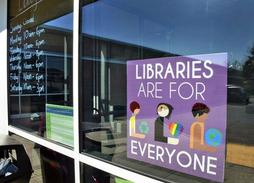 Sign in the window of the North Albany Library branch Tuesday Oct. 17, 2017 in Albany, NY. (John Carl D'Annibale / Times Union)