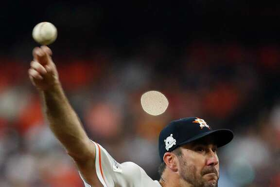 Justin Verlander earned the win for the Astros in Game 2 of the ALCS at Minute Maid.