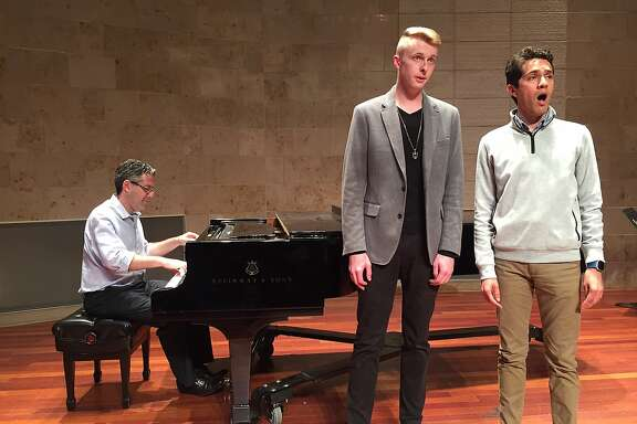 """Pianist Corey Jamason with singers James Hogan and Radomes Gil are scheduled to perform songs from the Gold Rush as part of the San Francisco Opera's symposium Saturday, Oct. 28, about the new John Adams-Peter Sellars opera """"Girls of the Golden West"""" and the period in which it's set."""