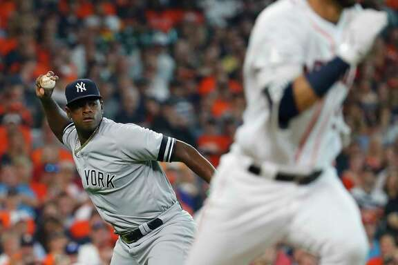 Yankees starting pitcher Luis Severino, left, pitched well in his first start of the ALCS, allowing just two hits over four innings, but he was pulled amid manager Joe Girardi's concerns over a possible injury.
