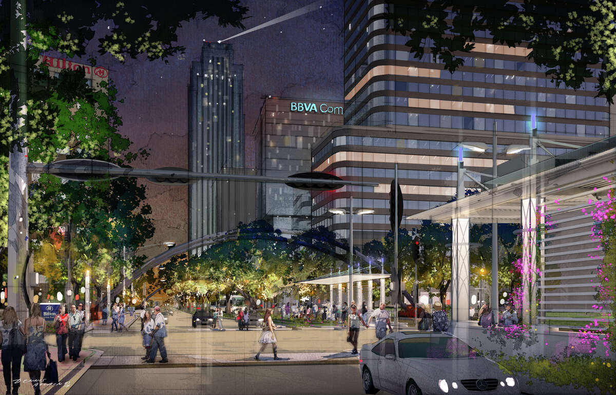 Plans for the rebuilding of Post Oak include wider sidewalks, large trees to provide shade and transit stations in the center of the street to access buses running along dedicated lanes.