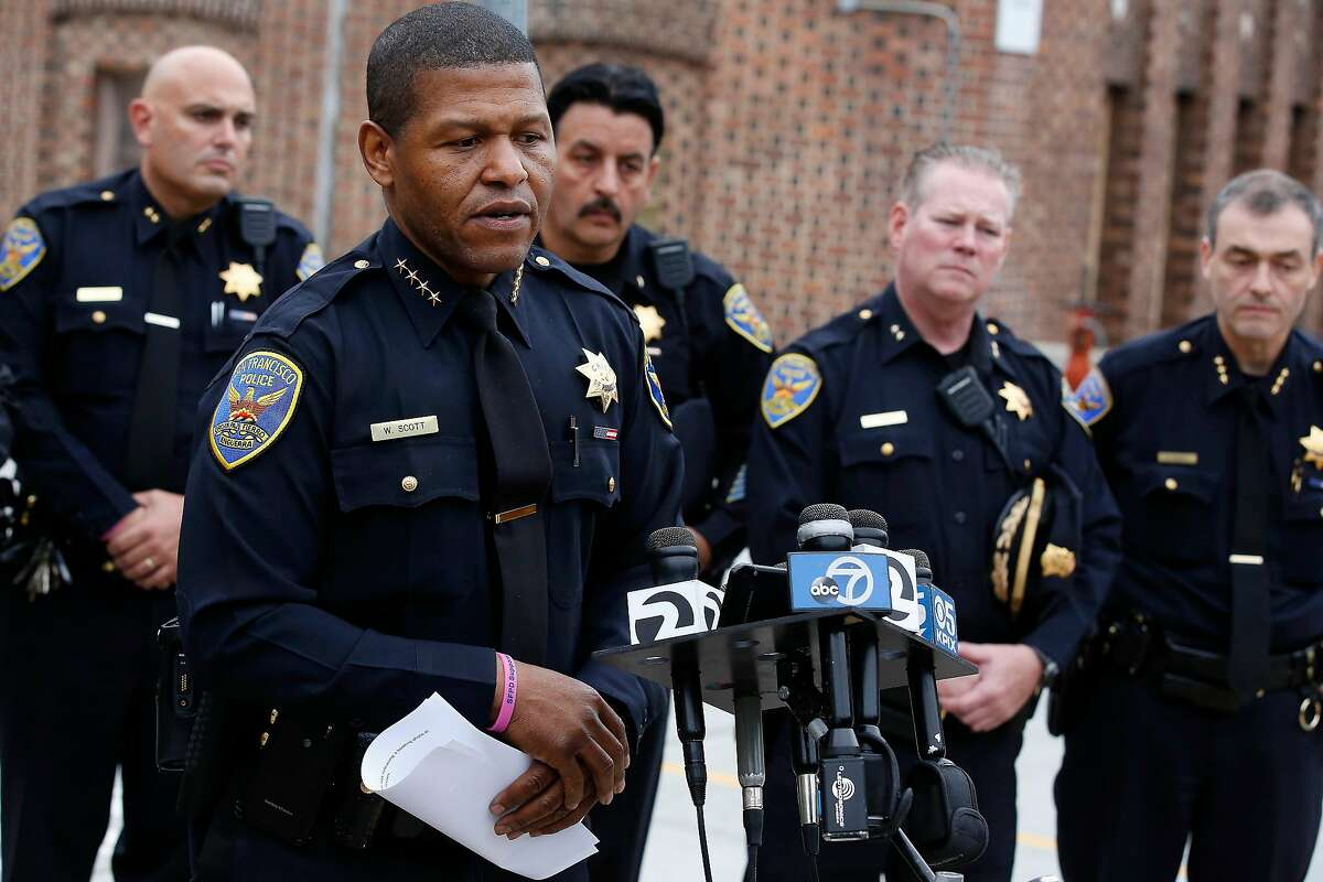 San Francisco Police Chief William Scott gives an update on the status of Officer Elia Lewin-Tankel as members of the San Francisco Police Department Command Staff stand behind him during a press conference outsidet Zuckerberg San Francisco General Hospital on Thursday, October 19, 2017 in San Francisco, Calif.