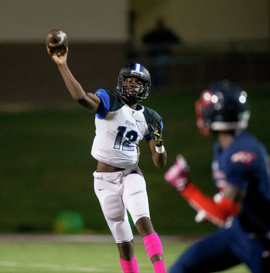 DeKaney QB Joshua Cephus (12) throws the ball during the first quarter of a football game between Dekaney vs Aldine Davis high school football game at Thorne Stadium, Thursday, October 19, 2017, in Houston. (Juan DeLeon/for the Houston Chronicle) Photo: Juan DeLeon, For The Chronicle / Houston Chronicle