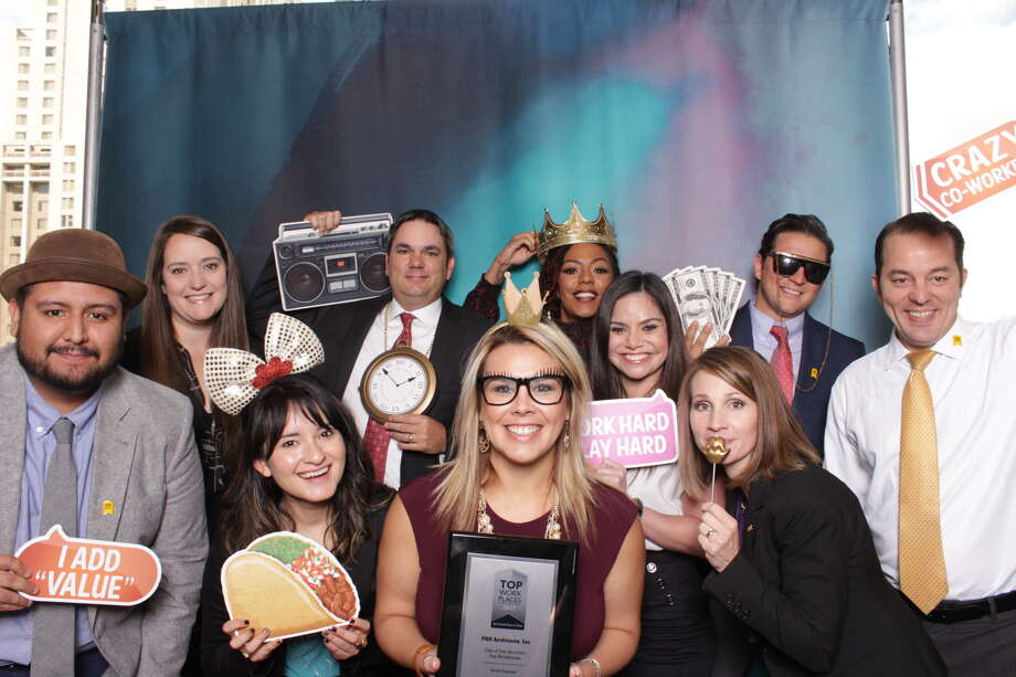 Attendees of the 2017 Top Workplaces luncheon pose for the camera at the event's photo booth. The luncheon, hosted at the Grand Hyatt on Oct. 19, honored the businesses in San Antonio that were voted the best places to work. Photo: Courtesy, Mad Mad Photo Booths